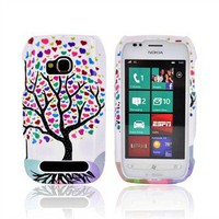 Protect phones Nokia Lumia 710 Hard Case - Black Tree w/ Multi-Colored Hearts on White AccessoryGeeks ship Free