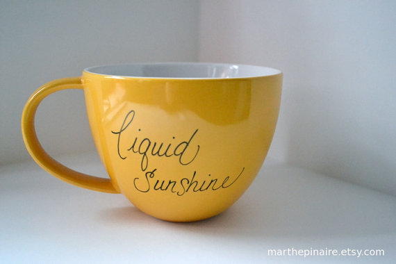 $12.00 liquid sunshine hand painted yellow mug by marthepinaire on Etsy
