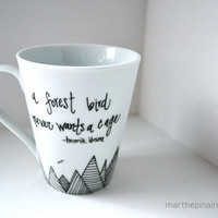$12.00 a forest bird hand painted mug by marthepinaire on Etsy