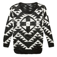 Teens Black and White Aztec Slub Knitted Jumper