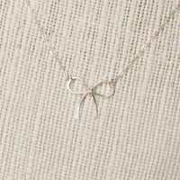 Sterling Silver Bow Necklace - Tiny Wire Bow