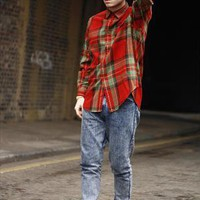 Vintage Ralph Lauren Suede Patch Check Wool Shirt | Sam Greenberg Vintage | ASOS Marketplace