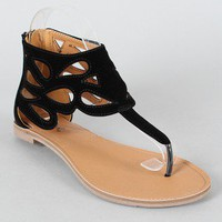 Qupid Athena-500A Cut-Out Cuff Thong Flat Sandal