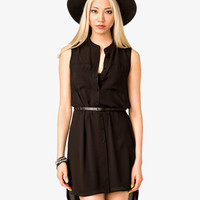 Sleeveless Shirt Dress w/ Belt