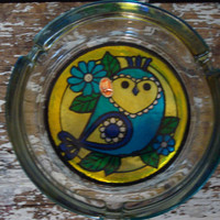 Stained Glass Owl Ashtray Never Been Used by shoppnspree on Etsy