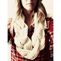 Crochet scarf braided cowl eternity circle scarf
