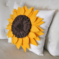 Sunflower Pillow Sunflower on Cream Pillow 14 x 14 by bedbuggs