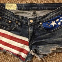 Sirrah&#x27;s Closet  Custom American Flag Jean Shorts