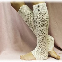LW28 CREAM Pointelle patterned legwarmers