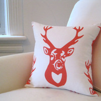 Orange Antlers PILLOW Cover - Throw Pillow Sham - Woodland Accent Cushion in Tangerine White Deer - Rustic Winter Home Decor