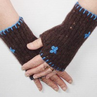 Upcycled Wool Texting Gloves with Blue Flowers