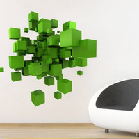 3D Space Cubes - Wall Decal for housewares