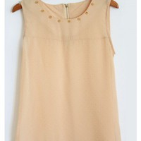 Spike Studded Blush Chiffon Tank