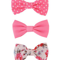 Set of 3 Bow Hair Clips | FOREVER21 - 1000038168