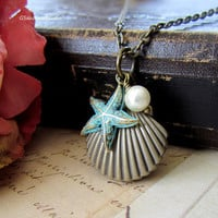 Antique Brass Sea Shell  Locket Necklace by gsakowskistudio