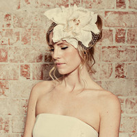 Oversize ivory silk lily hat with french by mignonnehandmade