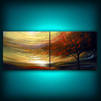 Nothing's Gonna Change My World - http://www.etsy.com/listing/93011308/cloud-painting-tree-painting-large