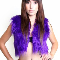 Clubstyle Purple Fur Vest : Furry Vests and Womens Rave Clothing