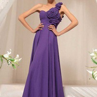 jill in purple one shoulder evening dress