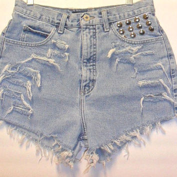 Vintage Guess High Waist Shorts with Studs by Turnupthevolume