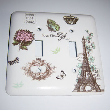Custom Order for Candace - Parisian themed double light switch cover