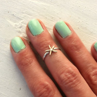 Sterling silver knuckle ring, starfish stacking ring - midi ring, hammered, textured knuckle ring, silver ring