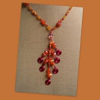 Tangerine Chips and Spirals Necklace by AthomicArtandDesign