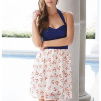 ANCHOR PRINT HALTER DRESS