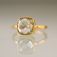 Green Amethyst Ring Gemstone Ring Gold Ring Bezel by delezhen
