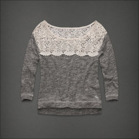 ABERCROMBIE &amp; FITCH Heather Grey Shine GILLIAN TEE Sweater WOMENS S SMALL NEW