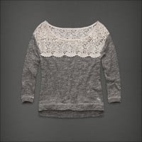 ABERCROMBIE & FITCH Heather Grey Shine GILLIAN TEE Sweater WOMENS S SMALL NEW