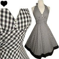 Black White GINGHAM Rockabilly 50s Pinup Halter Party Dress S M FULL SKIRT Swing