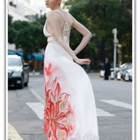 Minerva Casual Wedding Dress with Bright Red Flowers