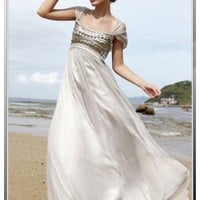 Short Sleeve Silver Modest Evening Dress