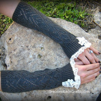 Lacey Arm Warmers  womens Fingerless Gloves in by GraceandLaceCo