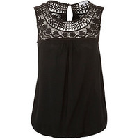 Black Contrast Crochet Bubblehem Top