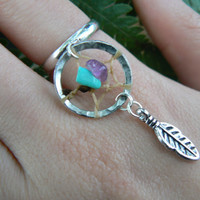 dreamcatcher ring turquoise and amethyst in boho gypsy hippie hipster native american and tribal style