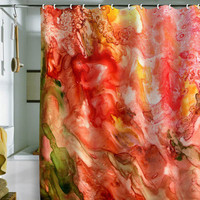 Rosie Brown Abstract Red Yupo Shower Curtain