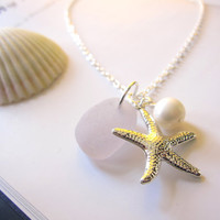 Lavender beachglass Necklace with Starfish &amp; swarovski pearl - Nautical gift for girlfriends, sisters or bridal party FREE SHIPPING