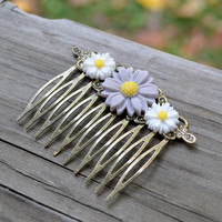 Daisy Hair Comb - Spring - Easter - Purple - Yellow - White - Bridal Hair - Bridesmaid Gift  - Gifts Under 10