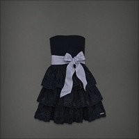 NEW ABERCROMBIE Hollister Women Ruffle Strapless JOSEY Summer Dress - S  Navy