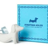 Jonathan Adler Dachshund Ornament in Matte White