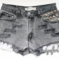 Grey High Waisted Denim Shorts Studded Levis by todyefordenim