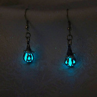 Mermaid&#x27;s Magic - Ocean Blue Earrings - Glow in the Dark - Set of Two Dangle Style Earrings