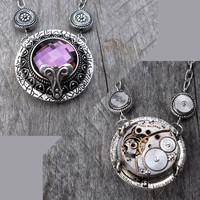 REVERSIBLE Purple Gem Clockpunk Steampunk Reversible Pendant Necklace, Waltham Watch Movement, Gears &amp; on Antiqued Silver Cable Link Chain