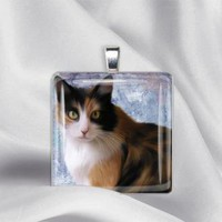 Calico Cat Glass Tile Pendant Necklace by izzysplace on Zibbet