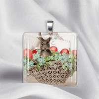 Bunny Rabbit in Basket Glass Tile Pendant Necklace by izzysplace