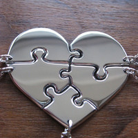 Heart shaped jigsaw puzzle pendants necklaces