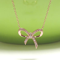 "ADORABLE BOW Necklace In Rose Gold Over Sterling Silver-16""+2 Extender"