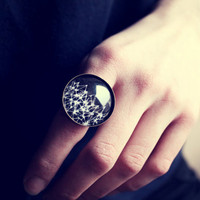 Retro Black & White Geometric Ring - Free Shipping - Made to order :)